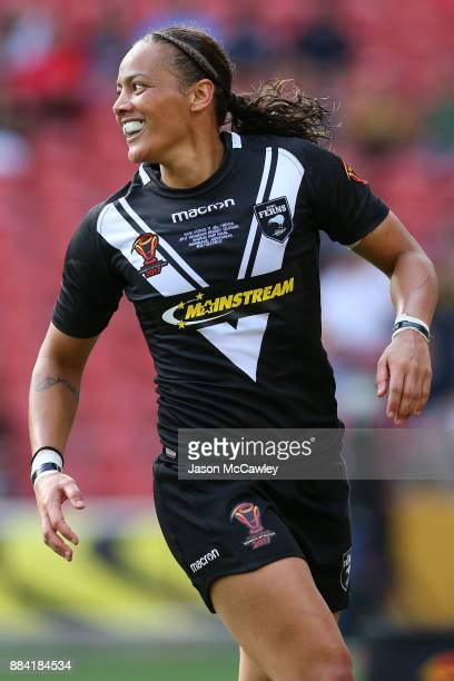 Honey Hireme of the Ferns celebrates scoring a try during the 2017 Rugby League Women's World Cup Final between Australia and New Zealand at Suncorp...