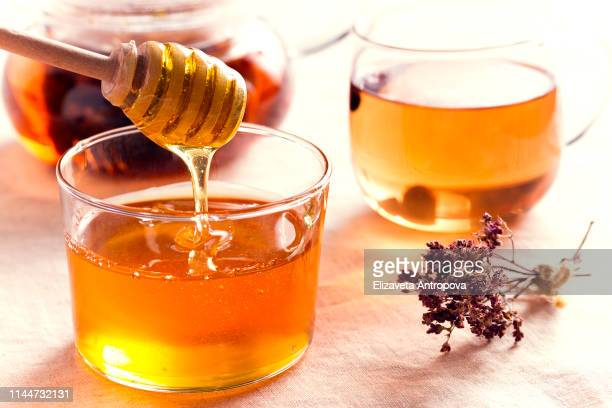 honey in a glass vase flows down from a wooden spoon - honey stock pictures, royalty-free photos & images