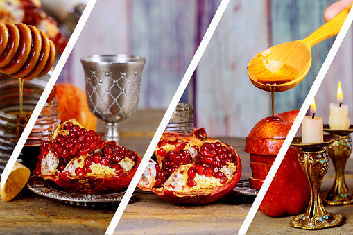 Honey jar with apples Rosh Hashana hebrew religious holiday 1021955326