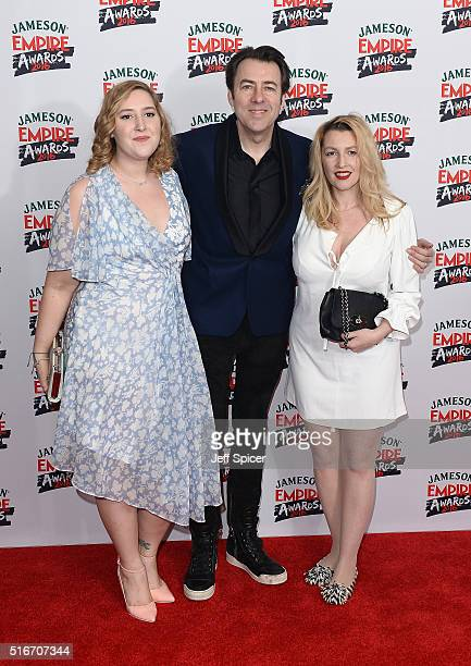 Honey Kinney Ross, Jonathan Ross and Jane Goldman attend the Jameson Empire Awards 2016 at The Grosvenor House Hotel on March 20, 2016 in London,...