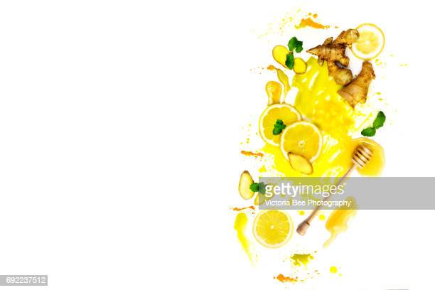 Honey, lemons and ginger. Creative food shot with watercolor.