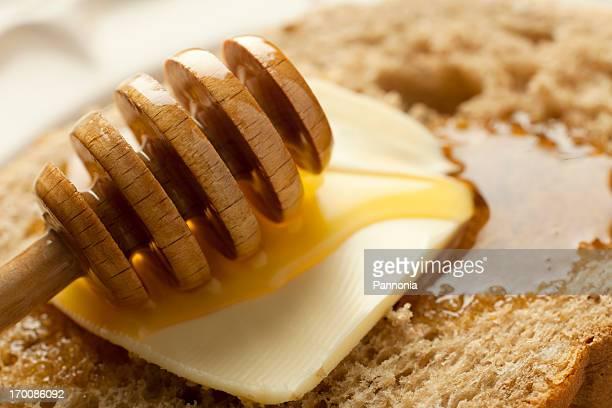 Honig und Brot mit Butter