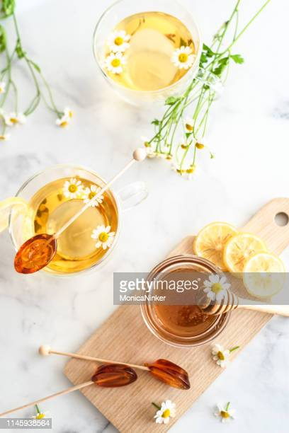 honey products 8 - chamomile tea stock pictures, royalty-free photos & images
