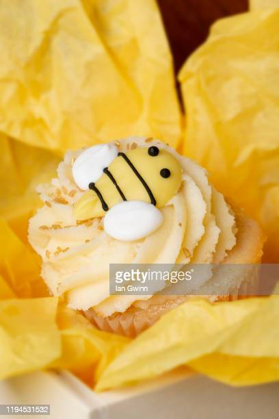 honeybee cupcake - ian gwinn stock pictures, royalty-free photos & images