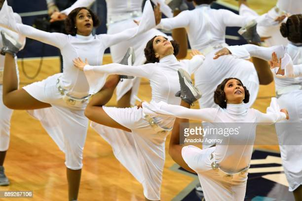 Honeybees cheerleeders dressed as Leila Organa from Star Wars during the NBA match between LA Lakers vs Charlotte Hornets at the Spectrum arena in...