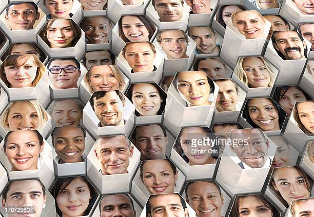 Honeycomb formation of portraits, various heights