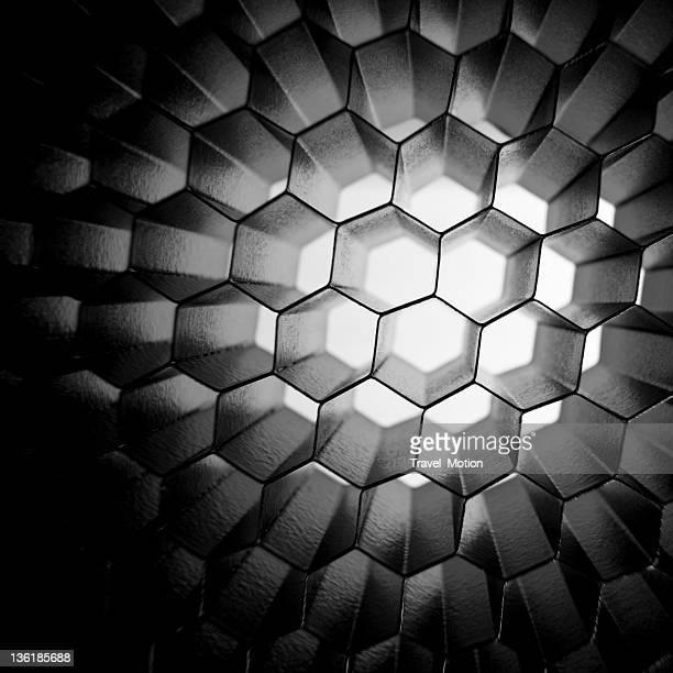 ハチの巣状のグリッドメッシュの背景