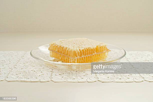 Honeycomb on a glass plate
