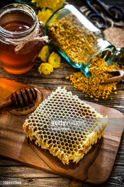 Honeycomb on rustic wooden table
