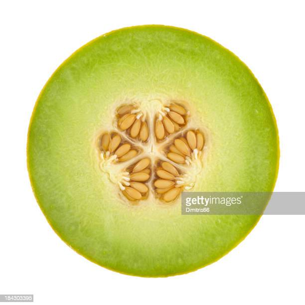 Honeydew Melon Cross Section On White