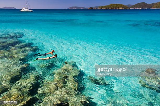 honeymoon couple snorkeling in the caribbean waters - snorkeling stock pictures, royalty-free photos & images