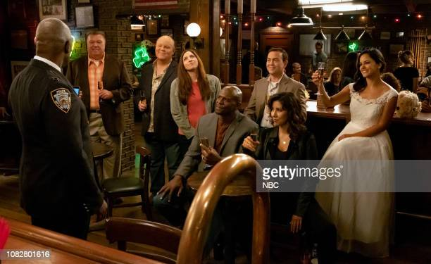 NINE Honeymoon Episode 601 Pictured Andre Braugher as Ray Holt Joel McKinnon Miller as Scully Dirk Blocker as Hitchcock Chelsea Peretti as Gina...