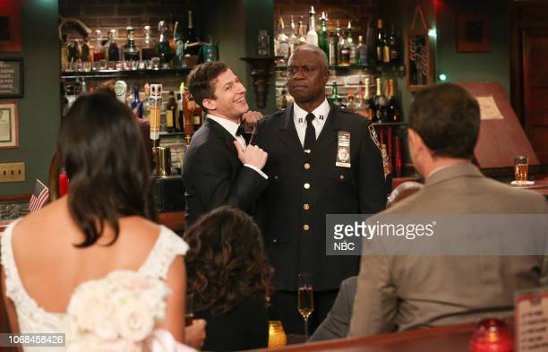 NINE Honeymoon Episode 601 Pictured Andy Samberg as Jake Peralta Andre Braugher as Ray Holt