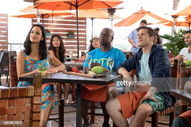 NINE Honeymoon Episode 601 Pictured Melissa Fumero as Amy Santiago Andre Braugher as Ray Holt Andy Samberg as Jake Peralta