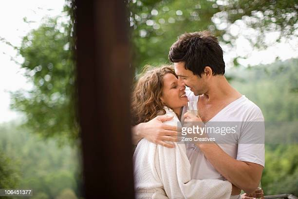 honeymoon - good morning kiss images stock photos and pictures