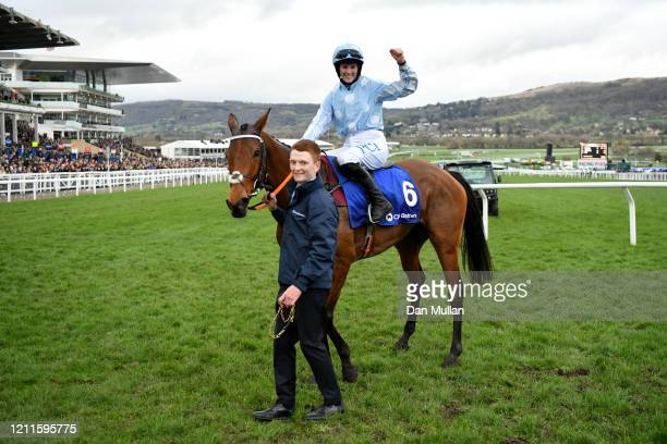 Honeysuckle ridden by Rachael Blackmore celebrate winning the Close Brothers Mares' Hurdle at Cheltenham Racecourse on March 10, 2020 in Cheltenham,...