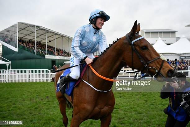 Honeysuckle ridden by Rachael Blackmore celebrates winning the Close Brothers Mares' Hurdle at Cheltenham Racecourse on March 10 2020 in Cheltenham...