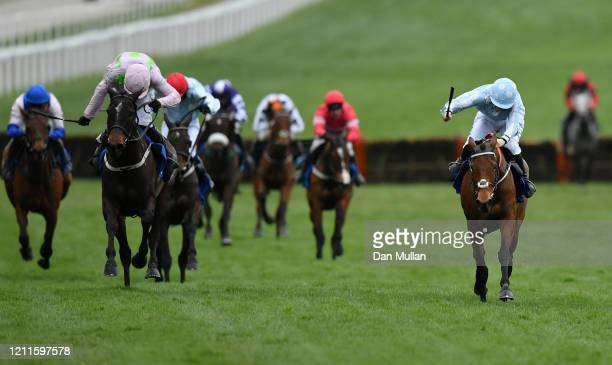 Honeysuckle ridden by Rachael Blackmore on the way to winning the Close Brothers Mares' Hurdle at Cheltenham Racecourse on March 10 2020 in...