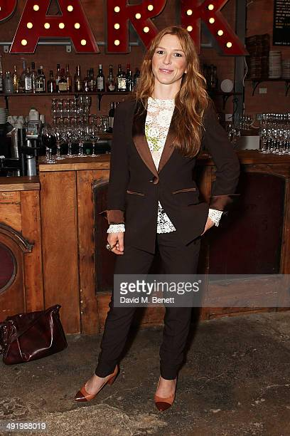 Honeysuckle Weeks attends Park Theatre's first birthday gala hosted by Sir Ian McKellen at Park Theatre on May 18 2014 in London England