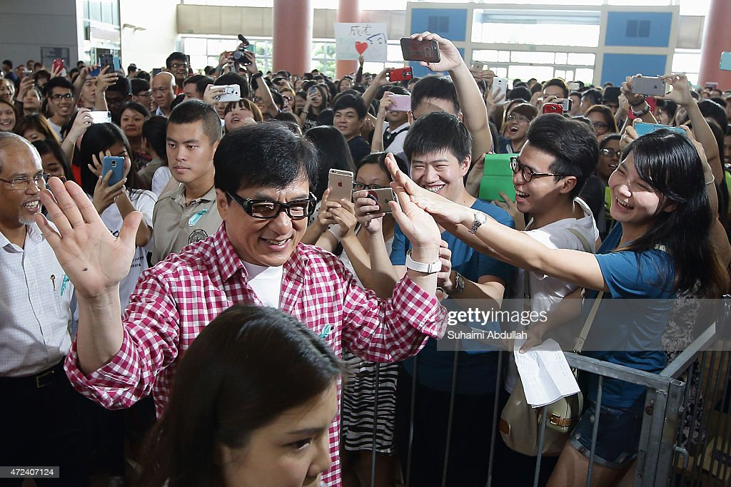 Hong actor and director, Jackie Chan arrives at the launch of a new mobile anti-drug game application, Aversion at Nanyang Polytechnic on May 7, 2015 in Singapore. Jackie Chan was named Singapore's first celebrity anti-drug ambassador.