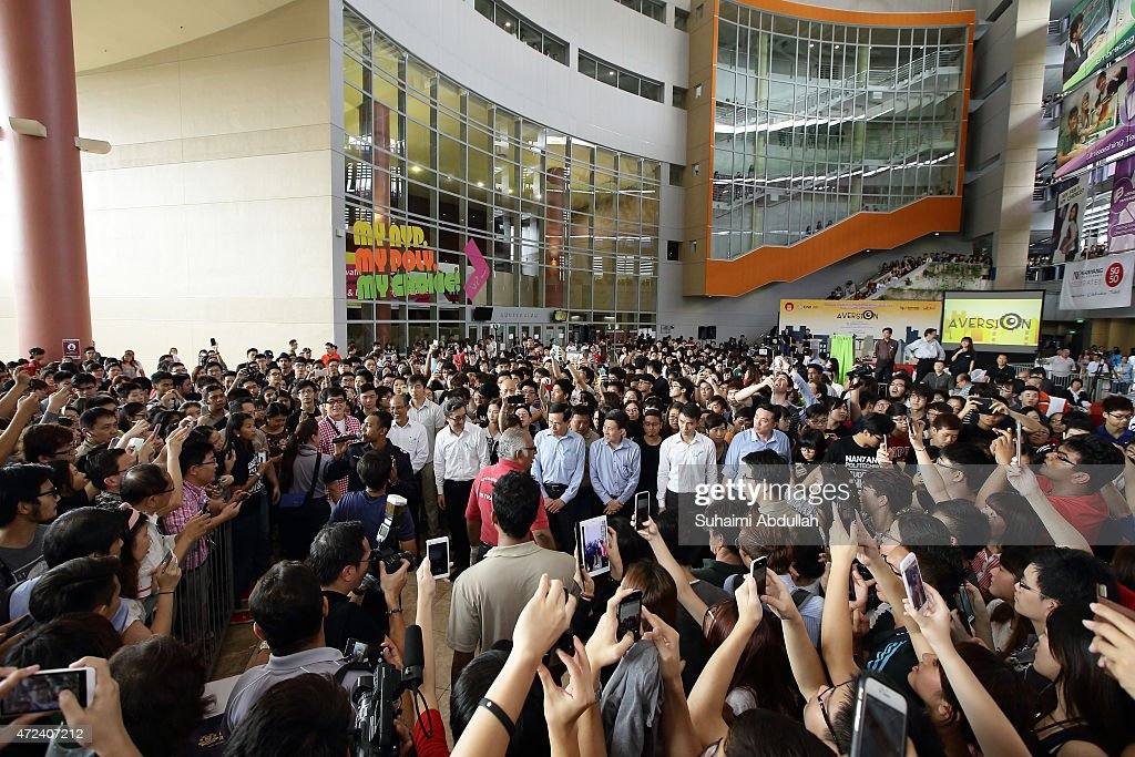 Hong actor and director, Jackie Chan makes a tour of preventive drug education roadshow after the launch of a new mobile anti-drug game application, Aversion at Nanyang Polytechnic on May 7, 2015 in Singapore. Jackie Chan was named Singapore's first celebrity anti-drug ambassador.