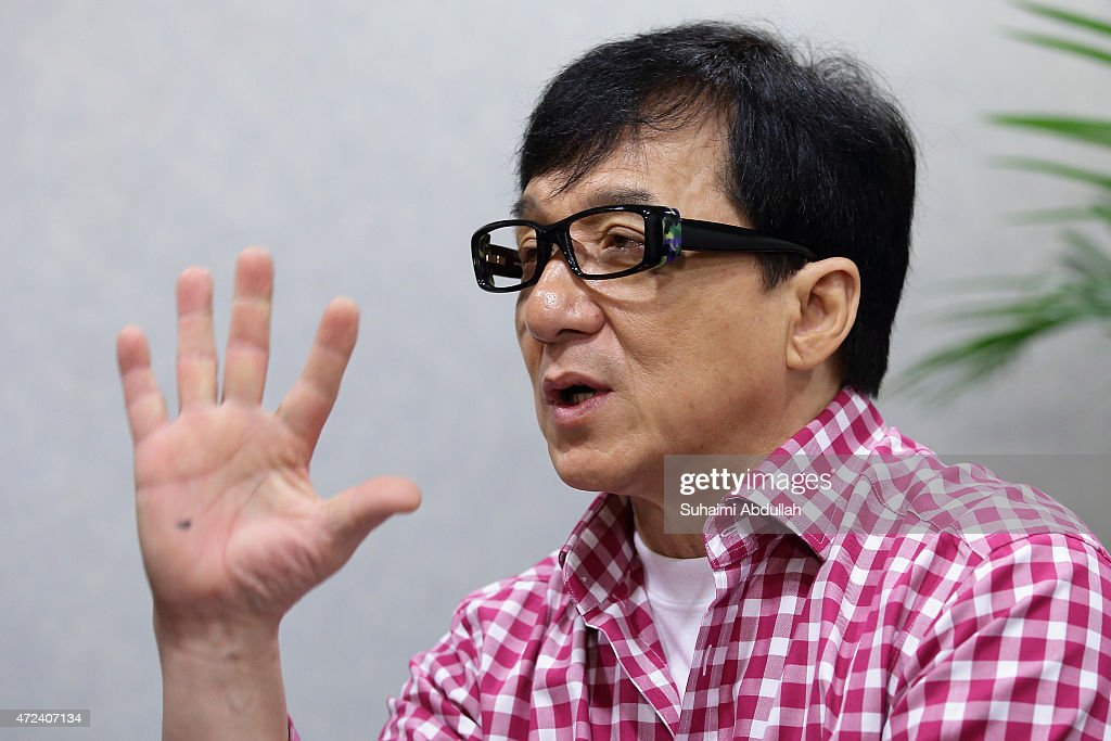 Hong actor and director, Jackie Chan speaks to the media prior to the launch of a new mobile anti-drug game application, Aversion at Nanyang Polytechnic on May 7, 2015 in Singapore. Jackie Chan was named Singapore's first celebrity anti-drug ambassador.