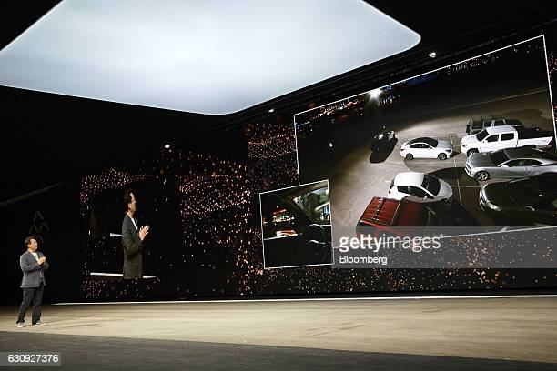 Hong Bae director of advanced drive assistance systems and selfdriving at Faraday Future speaks as the auto valet parking feature of the FF91...