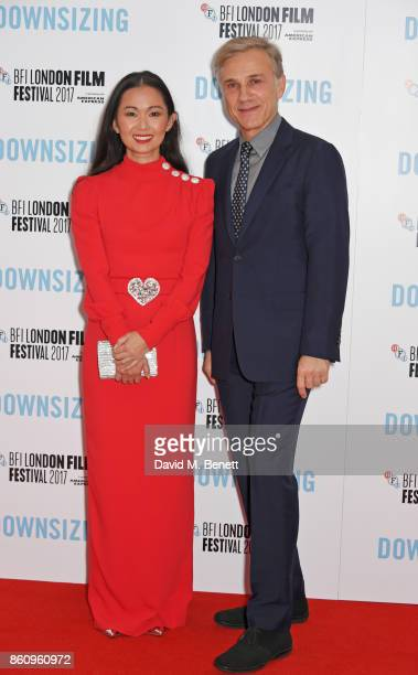 Hong Chau and Christoph Waltz attend the BFI Patron's Gala UK Premiere of 'Downsizing' during the 61st BFI London Film Festival on October 13 2017 in...
