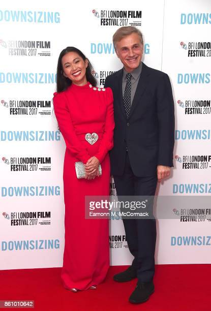 Hong Chau and Christoph Waltz attend the UK premiere of 'Downsizing' the BFI Patron's Gala during the London Film Festival on October 13 2017 in...