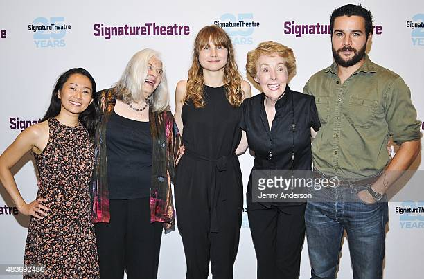 Hong Chau Lois Smith Annie Baker Georgia Engel and Christopher Abbott attend 'John' opening night party at Pershing Square Signature Center on August...