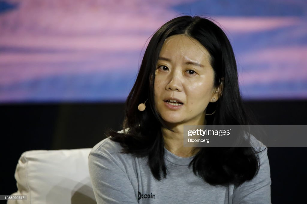 Hong Fang, chief executive officer of Okcoin, speaks during the... News  Photo - Getty Images