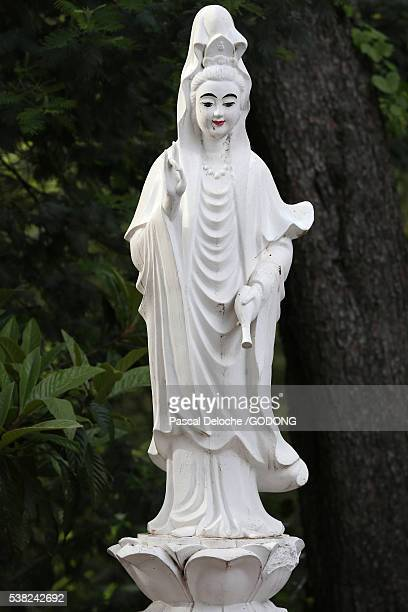 hong hien tu temple. quan am bodhisattva of compassion or goddess of mercy. - hong quan stock pictures, royalty-free photos & images
