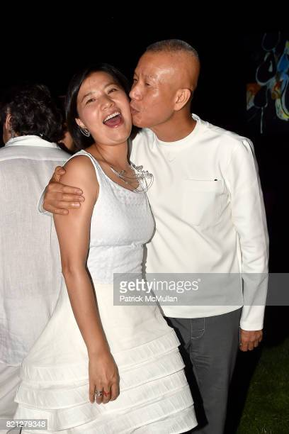 Hong Hong Wu and Cai GuoQiang attend Boom The Cosmic LongHouse Benefit at LongHouse Reserve on July 22 2017 in East Hampton New York