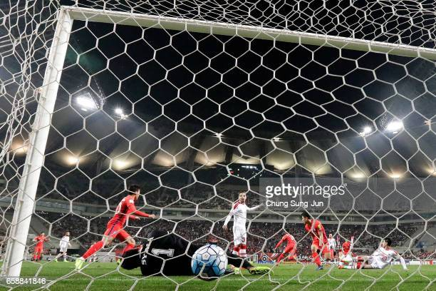 Hong JeongHo of South Korea scores a goal during the FIFA World Cup Qualification AFC Final Group Stage match between South Korea and Syria at Seoul...