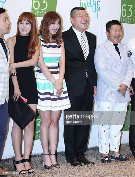Hong JinYoung Shin Ji Gang HoDong and Cho SaeHo attend Jang YoonJung and Do KyungWan Wedding at 63 building convention center on June 28 2013 in...