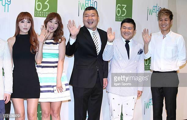 Hong JinYoung Shin Ji Gang HoDong Cho SaeHo and Kim JongMin attend Jang YoonJung and Do KyungWan Wedding at 63 building convention center on June 28...