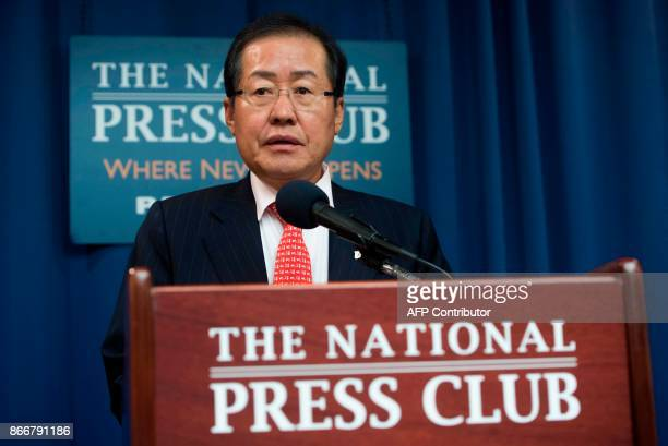 Hong Jun-pyo, chairman of the Liberty Korea Party, speaks about redeploying US nuclear weapons to South Korea, during a press conference at the...
