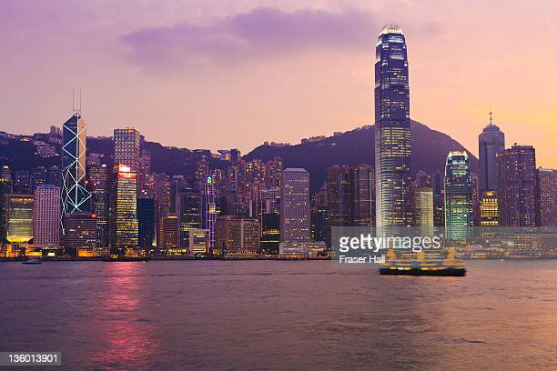 hong kon cityscape - star ferry stock photos and pictures