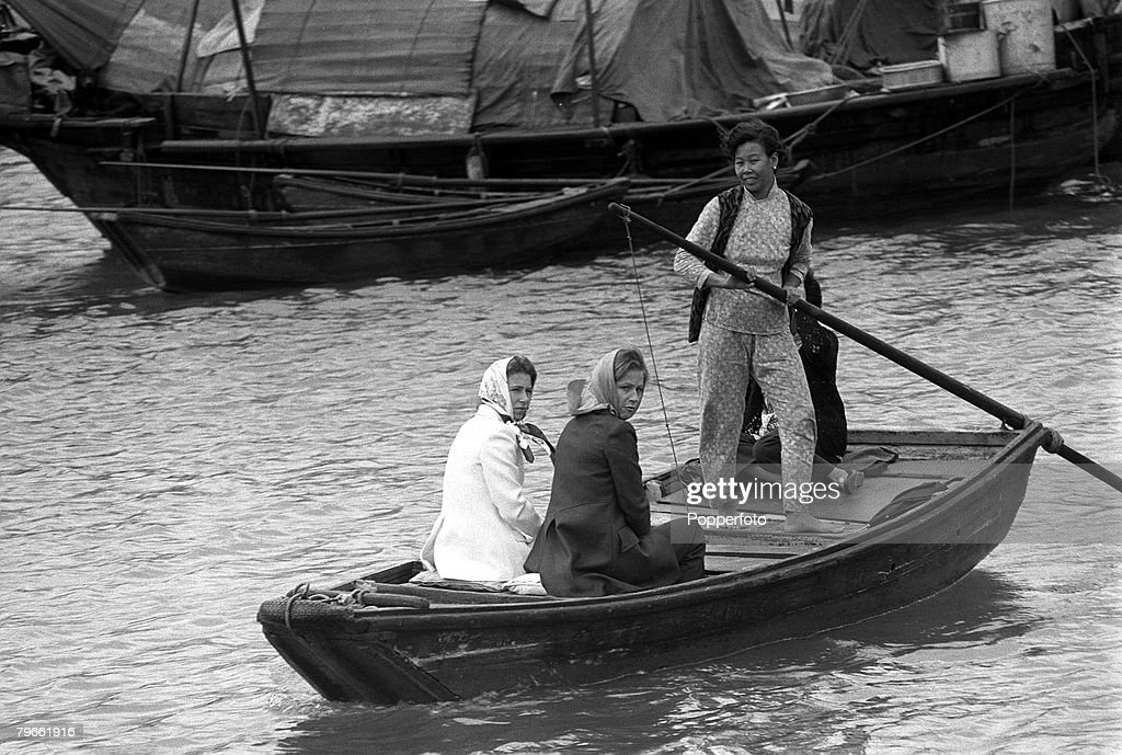 Hong Kong, 30th October 1971, Princess Anne (left) is accompanied by her lady-in-waiting Mary Dawnay as she is taken to Junk Bay in a fishing boat during her visit : News Photo
