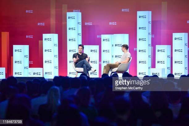 Hong Kong - 9 July 2019; Min-Liang Tan, Co-founder & CEO, Razer, in conversation with Jon Russell, Writer, TechCrunch, on Centre Stage during day one...