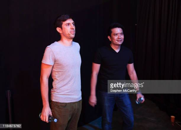 Hong Kong - 9 July 2019; Min-Liang Tan, Co-founder & CEO, Razer, right, and Jon Russell, Writer, TechCrunch, backstage during day one of RISE 2019 at...