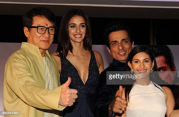 Hong Kong action movie star Jackie Chan Indian Bollywood actors Disha Patani Sonu Sood and Amyra Dastur attend a promotional event for the upcoming...