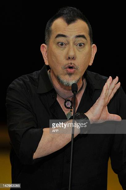 Hong Kong actor Anthony Wong speaks onstage at the 31st Hong Kong Film Awards on April 15 2012 The annual awards are the Hong Kong equivalent to the...