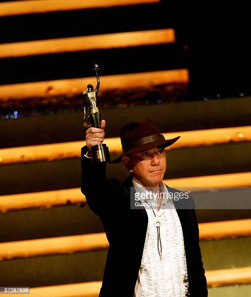 Hong Kong actor Anthony Wong wins Best Supporting Actor for Initial D at the 25th Hong Kong Film Award on April 8 2006 in Hong Kong China
