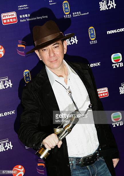 Hong Kong actor Anthony Wong wins Best Supporting Actor for Initial D at the 25th Hong Kong Film Awards on April 8 2006 in Hong Kong China