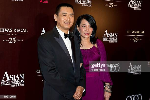 Hong Kong actor Chow Yunfat and wife Jasmine arrives to the 5th Asia Film Awards ceremony at the Convention and Exhibition Centre on March 21 2011 in...