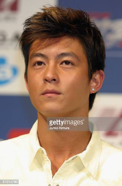 Hong Kong actor Edison Chen attends a press conference to promote a film Initial D on July 1 2004 in Tokyo Japan Initial D is a Hong Kong film which...