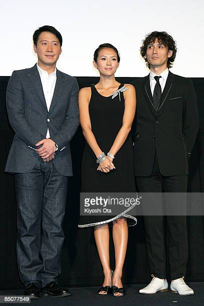 Hong Kong actor Leon Lai Chinese actress Zhang Ziyi and Japanese actor Masanobu Ando pose for photographs during the 'Forever Enthralled' Japan...