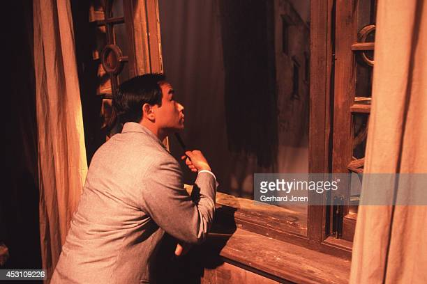 Hong Kong actor Leslie Cheung Kwok Wing during the filming of 'Temptress Moon' in Shanghai Film Studios