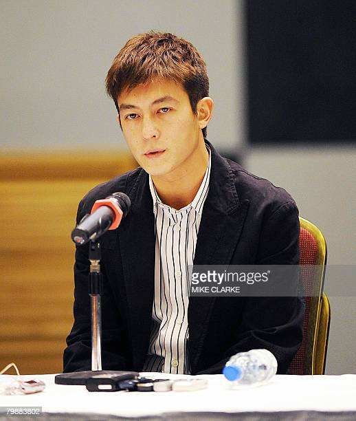 Hong Kong actorsinger Edison Chen faces the media at a hastily convened press conference in Hong Kong on February 21 2008 At least seven stars have...
